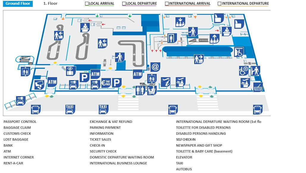 Схема аэропорта Сплита