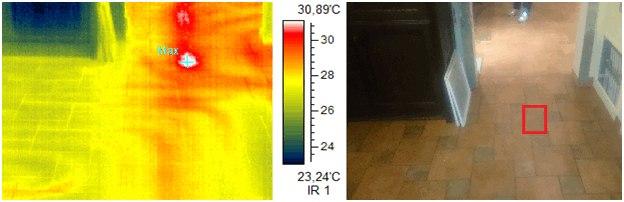 на фотографии показана тепловизионная съемка для обнаружения повреждения