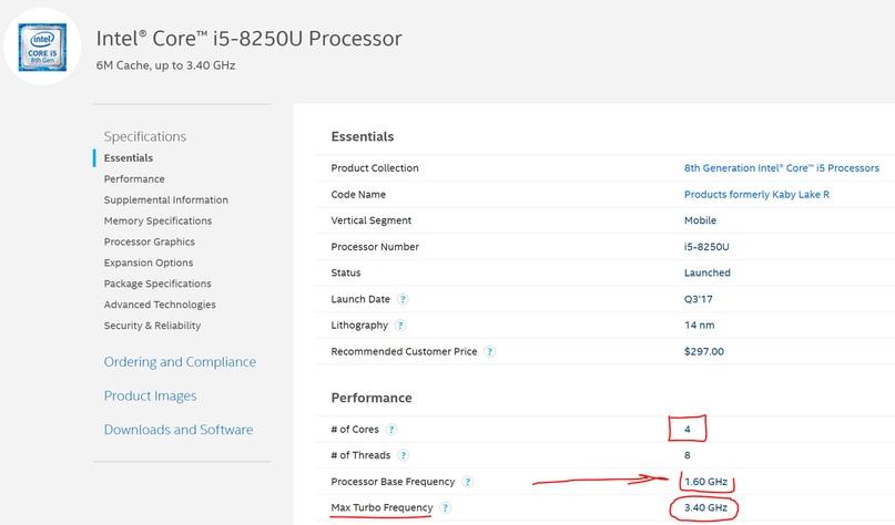 # of Cores — количество физических ядер, меньше 4 не рассматриваем! Base frequency — базовая частота, на этой частоте будут выполняться слабые задачи, как калькулятор или word. MAX TURBO frequency — максимальная частота процессора, которая будет таковой в сложных задачах! При условии, что ноутбук сможет охладить процессор — об этом ниже!