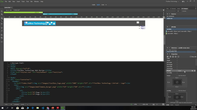 30.Dreamweaver cc 2019 - menu image display to none for desk top
