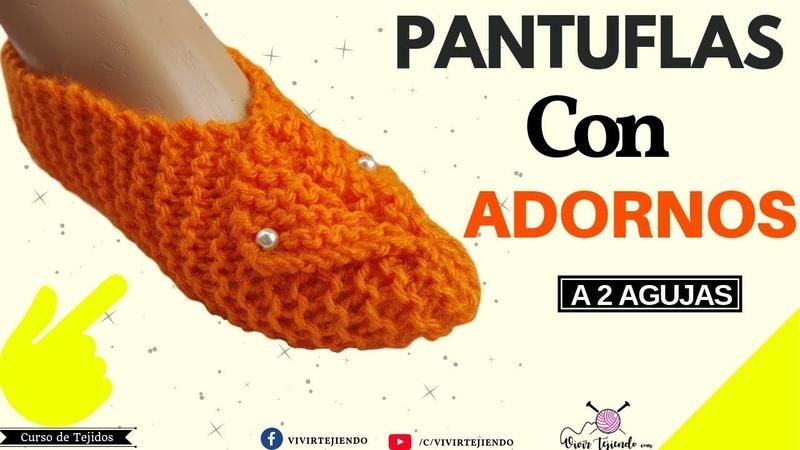 Pantuflas y Babuchas A dos Agujas con Adornos   Tejidos a Palillos