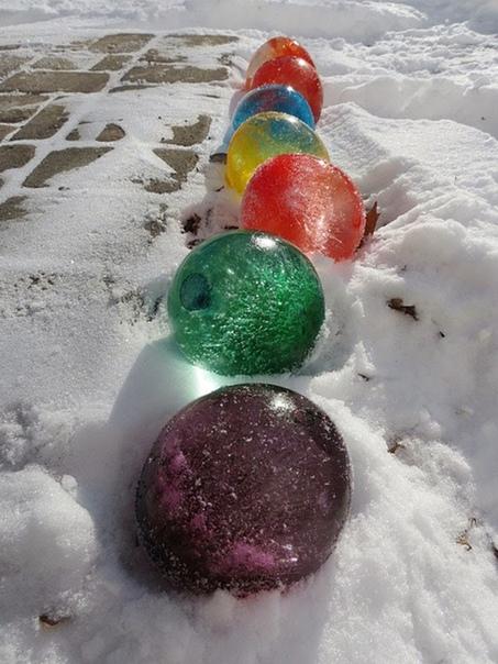 Чем же удивить детей зимой Например, можно сделать разноцветные ледяные шары!!! Это необычно, интересно, весело! И очень просто!Для этого нам понадобятся:- воздушные шарики;- вода;- пищевые