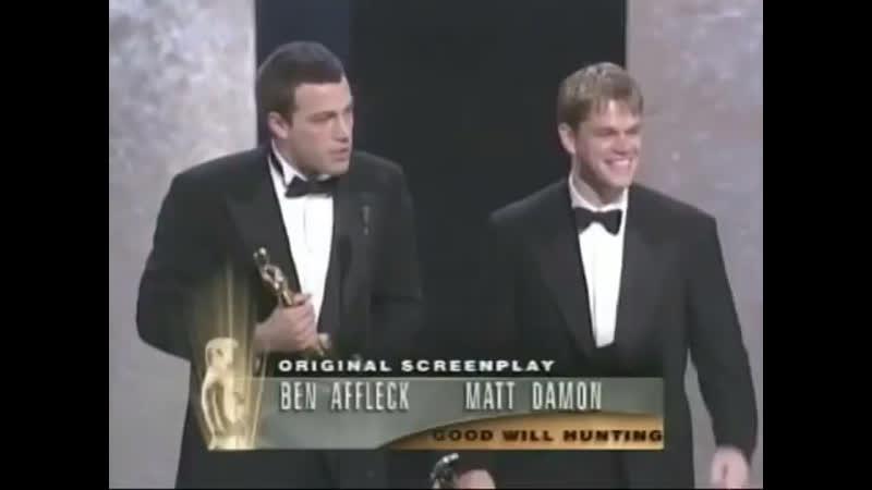 Ben Affleck and Matt Damon winning an Oscar for writing Good Will Hunting 1997