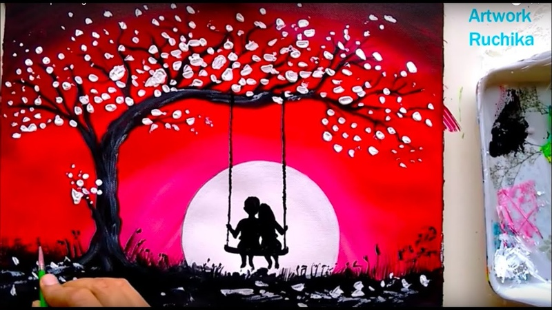 Swing Under The MoonLight Painting | 3 Color Painting | Acrylic Painting Tutorial
