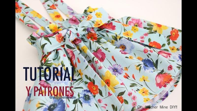 Patrones falda para niñas con tirantes (patrones gratis hasta talla 8 años)
