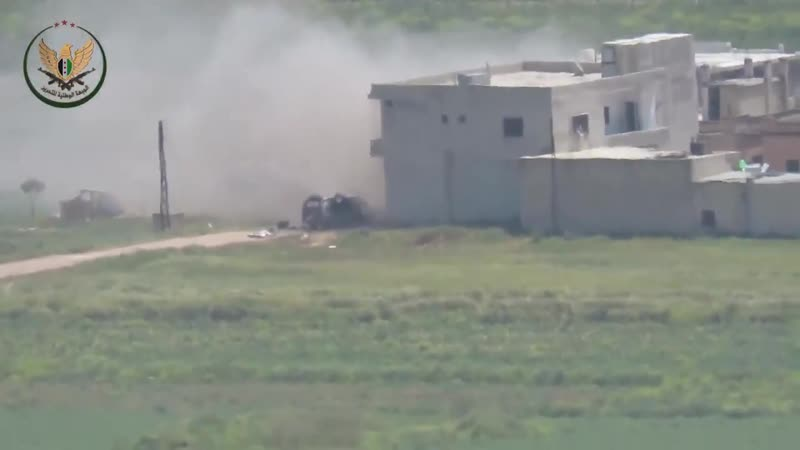 Yria today again NLF fired multiple ATGMs Video shows a Konkurs destroying a vehicle used by pro Assad froces in Sheikh Idriss