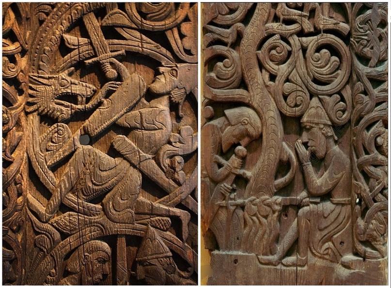 Сигурд Убийца Фафнира. Фрагменты резьбы 1200 года. Справа -убийство Фафнира Сигурдом. Слева - Сигурд жарит сердце дракона на костре.