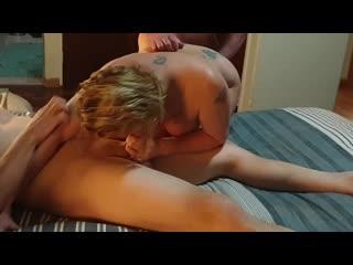 Blonde wife first gangbang (amateur, blowjob, creampie, orgasm, porn, milf, sexwife, домашнее, порно, мжм, минет, сквирт, шлюха)