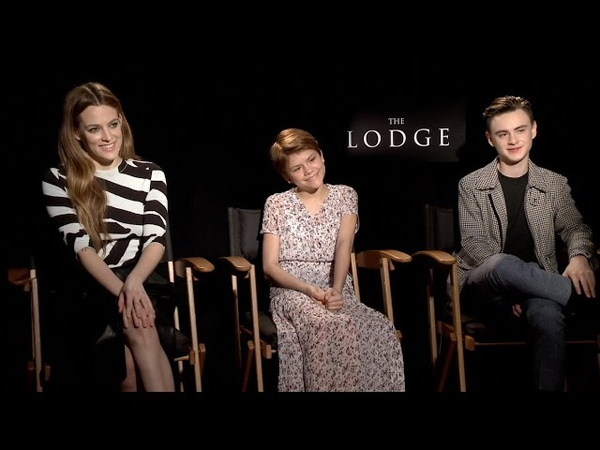 THE LODGE Riley Keough Lia McHugh Jaeden Lieberher on being on a scary movie their favorite