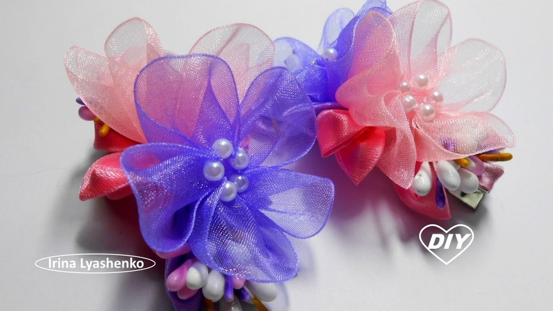 Цветок из узкой ленты органзы МК/ DIY Organza flower/PAP Flor de organza179