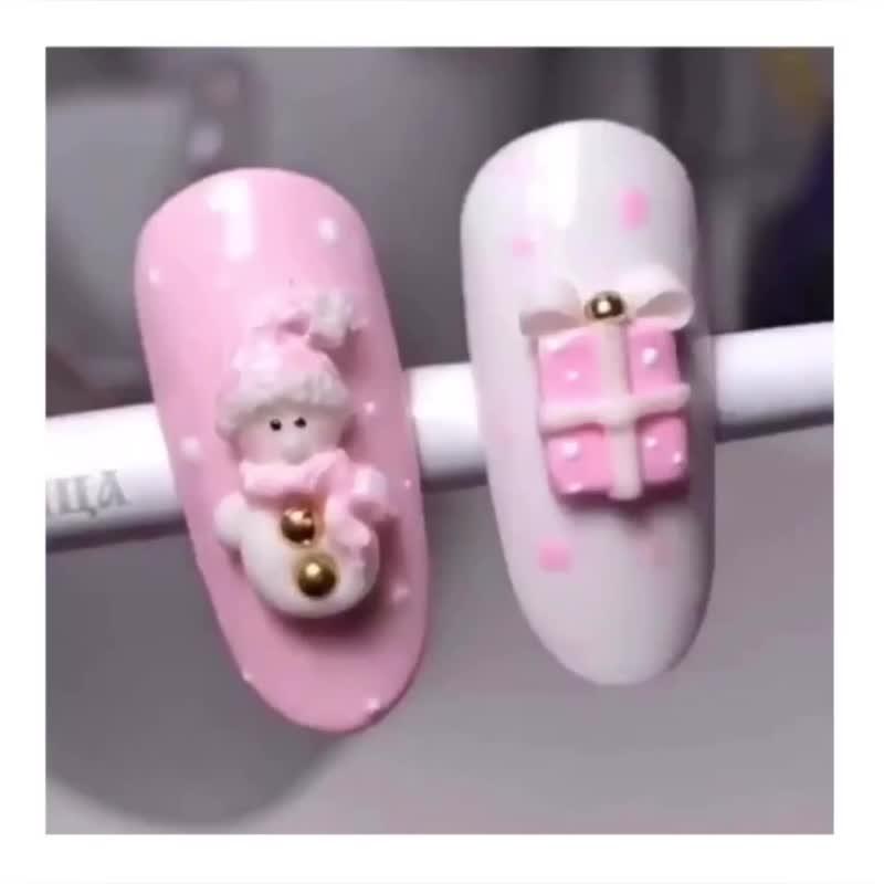 МК Снеговик Новогодний Дизайн Ногтей