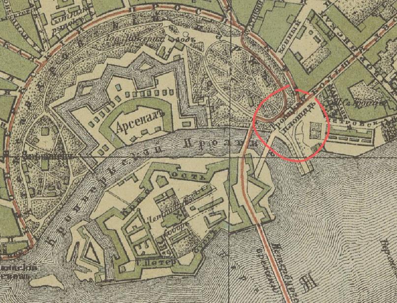 Троицкая площадь Петербургской стороны идеально простреливается с бастионов Петропавловской крепости.