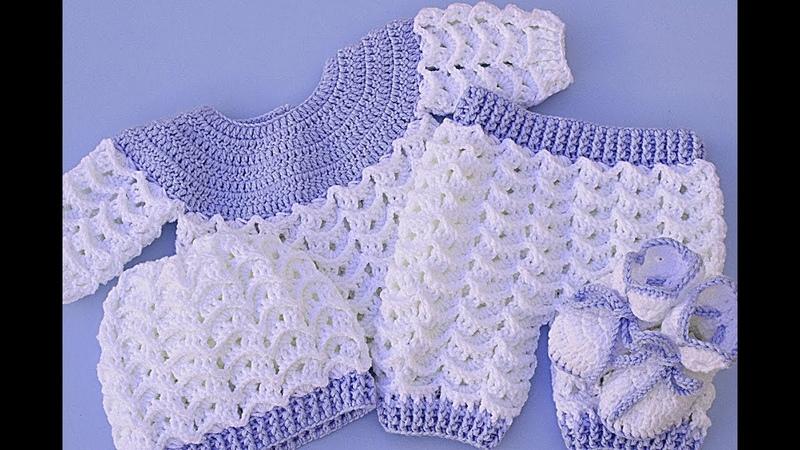 Pantalón de bebe a crochet a juego con jersey muy fácil y rápido