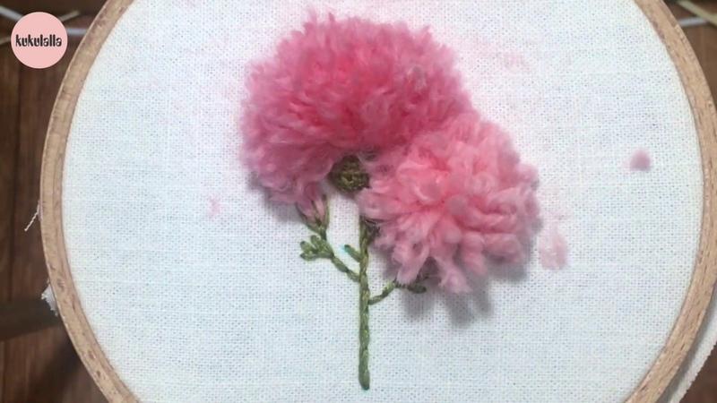 [프랑스자수] 울사로 만드는 카네이션 꽃 자수 Carnation (clove gillyflower) embroidery flower making wool yarn