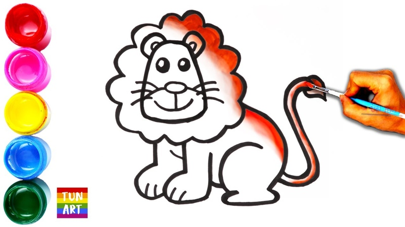 Draw and Color Lion for Kids Cara Menggambar dan Mewarnai Singa untuk Anak Tun Art
