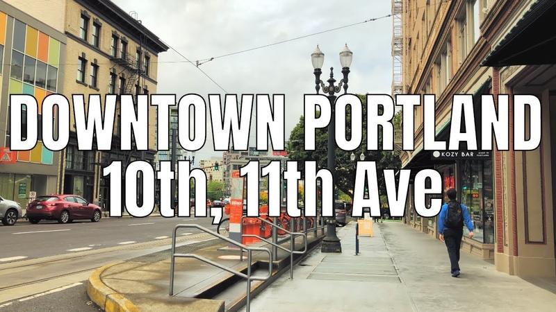 Walking Portland, Downtown 10th 11th Ave 2019 | Binaural Virtual Tour | 4K 60ᶠᵖˢ