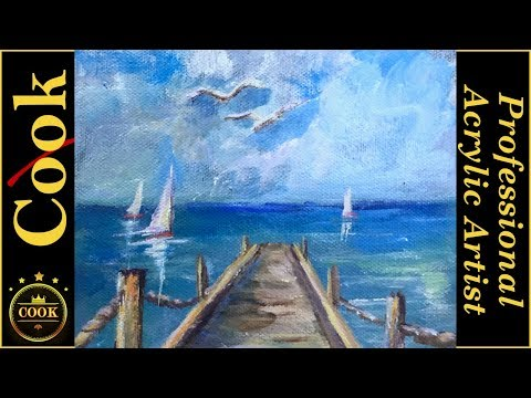 One Point Perspective Made Simple in a Sea Scape Acrylic Tutorial with Ginger Cook