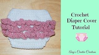 Crochet Diaper Cover with Ruffles 0-3 Months   - Crochet Jewel