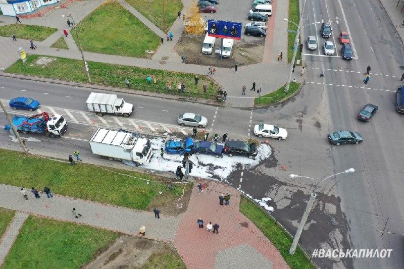 В Бресте столкнулись пять автомобилей: официальная информация