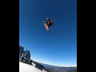 Vlad khadarin stunts with snowboard