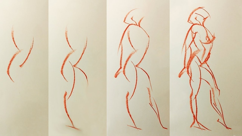 Beginner GESTURE Drawing (1 of 3) - How to Draw Figures with Movement
