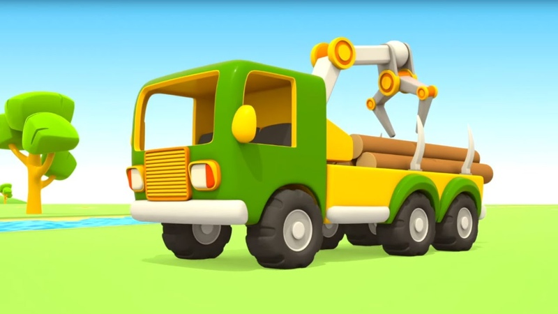 Um caminhão de madeira. Veículos de serviço. Desenhos animados para crianças