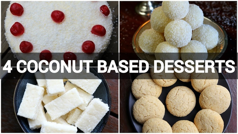 4 instant coconut dessert recipes | coconut cake | coconut barfi | coconut ladoo | coconut cookies