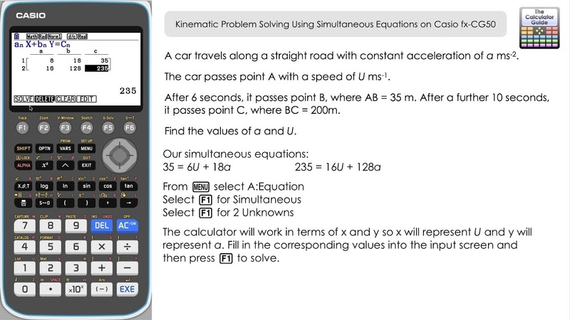 Kinematic Problem Solving Using Simultaneous Equations On Casio fx CG50