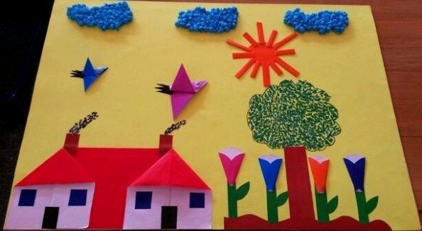 Аппликация с цветами и птицами Интересную аппликацию на весеннюю тему с объемными элементами из цветной бумаги и салфеток можно сделать с младшими школьниками.Из цветной бумаги делаем простейшие