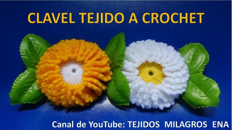 Flor CLAVEL tejida a crochet paso a paso para tapetes y centros de mesa