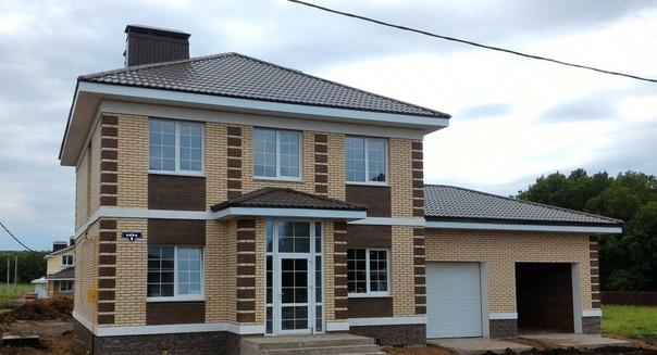 Двухэтажный дом из кирпича Общая площадь дома - 140 кв.м, гараж 20 кв.мАзбука_цветовода_идеи