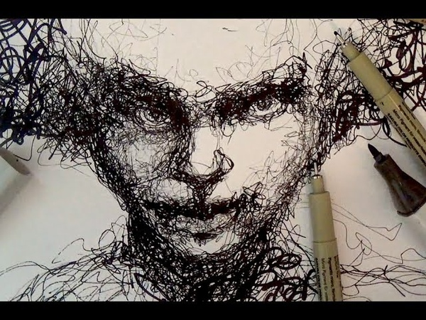Pen and Ink Drawing Tutorials Scribble portrait drawing demo