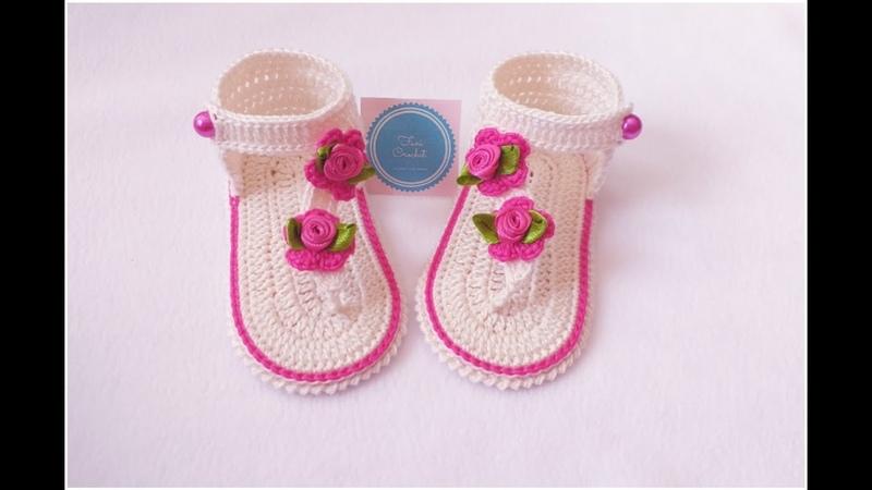 Sandalias a Crochet o Ganchillo talla 3 a 6 meses