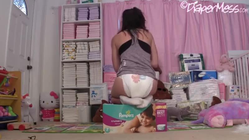 Girl messing diaper