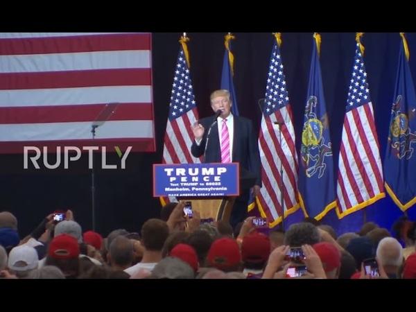 USA: Trump mocks Clinton's fainting spell at Manheim rally