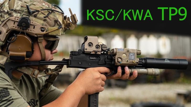 KSC KWA TP9 GBB on an airsoft shooting range