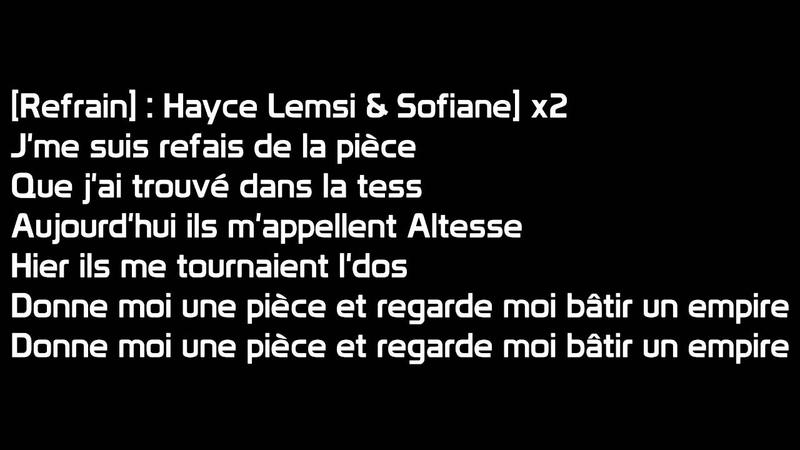 Hayce lemsi (Ft. Sofiane) - Altesse (paroles)