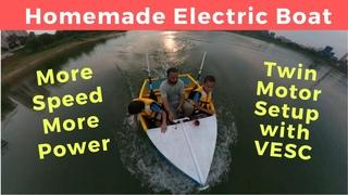 Boating Fun Homemade Mini Electric Boat Twin Motor Power