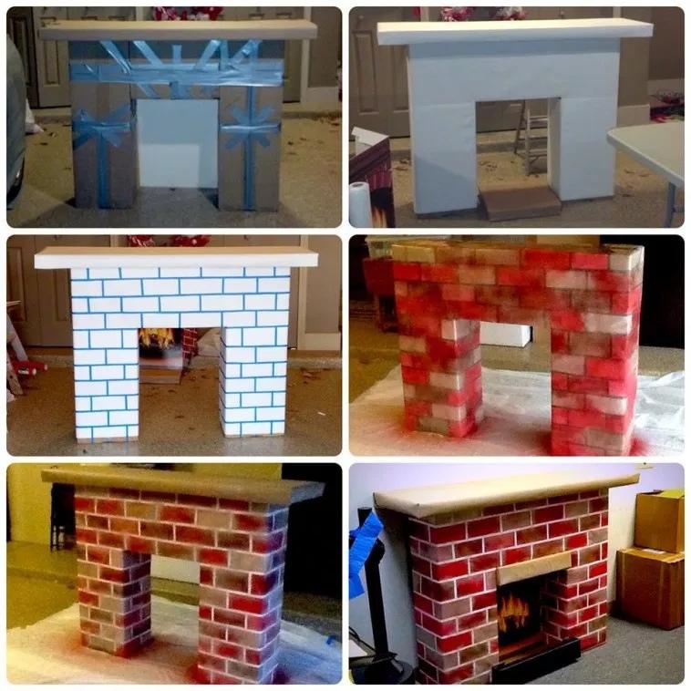 Как сделать новогодний камин из коробок и картона, изображение №4