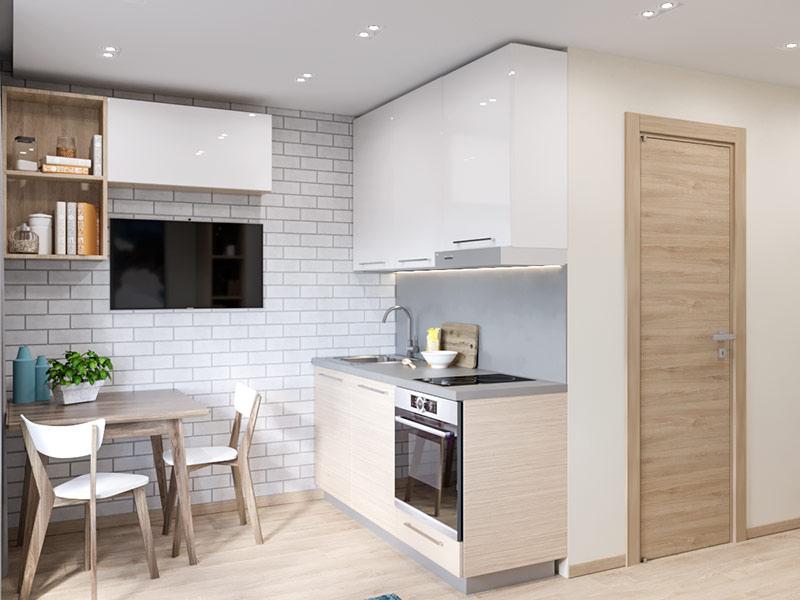 Дизайн-проект маленькой квартиры-студии 15,4 м от московского застройщика MySpace Development.
