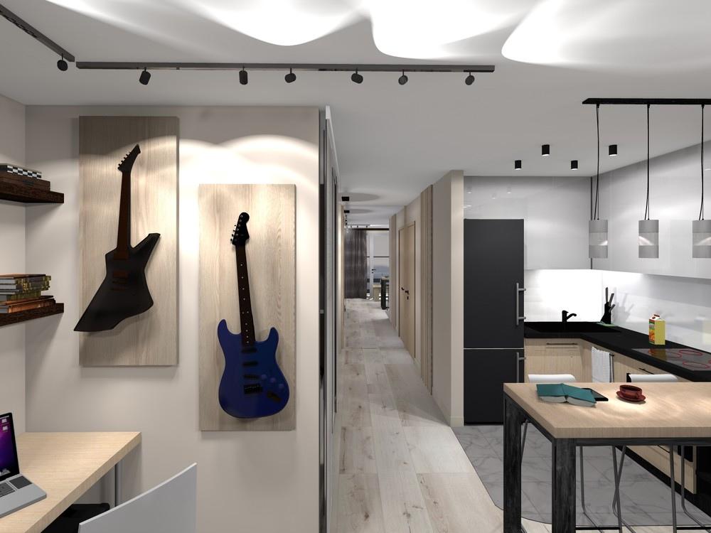 Бюджетный проект квартиры 34 м для молодой пары.