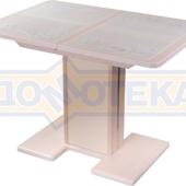 Стол кухонный Каппа ПР ВП МД 05 МД/КР пл 42, молочный дуб, бежевая плитка с сакурой