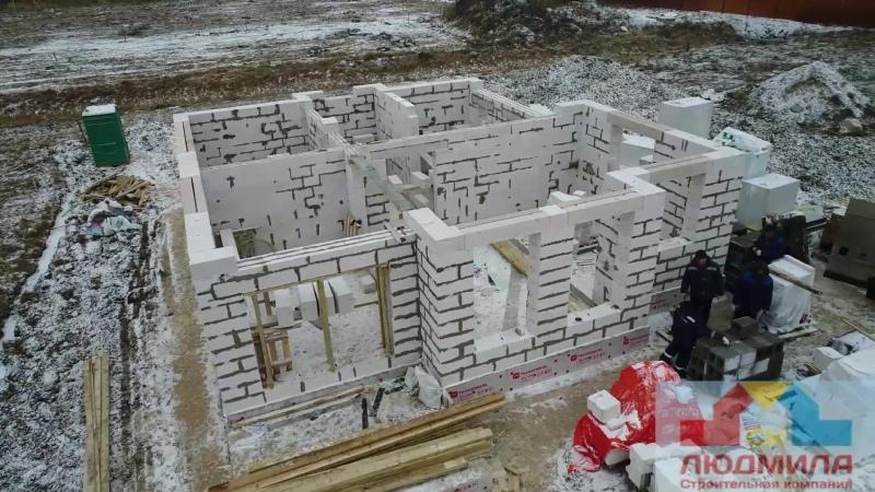 Строительство дома из газобетона в зимний период.