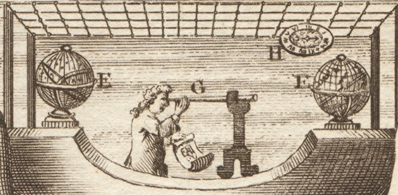 Часы, телескоп, две сферы