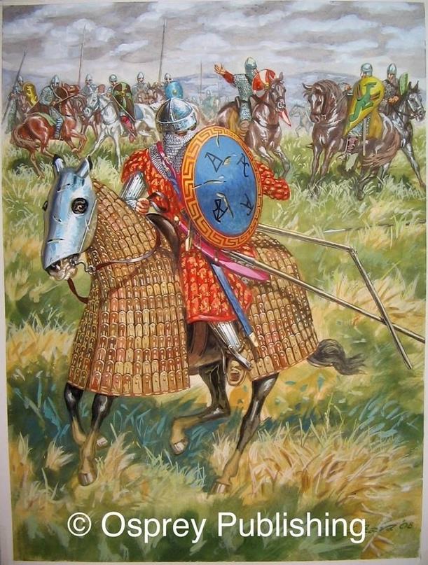 Византийские клибанофоры к X в. снаряжплись: поверх рубахи был стеганый поддоспе...