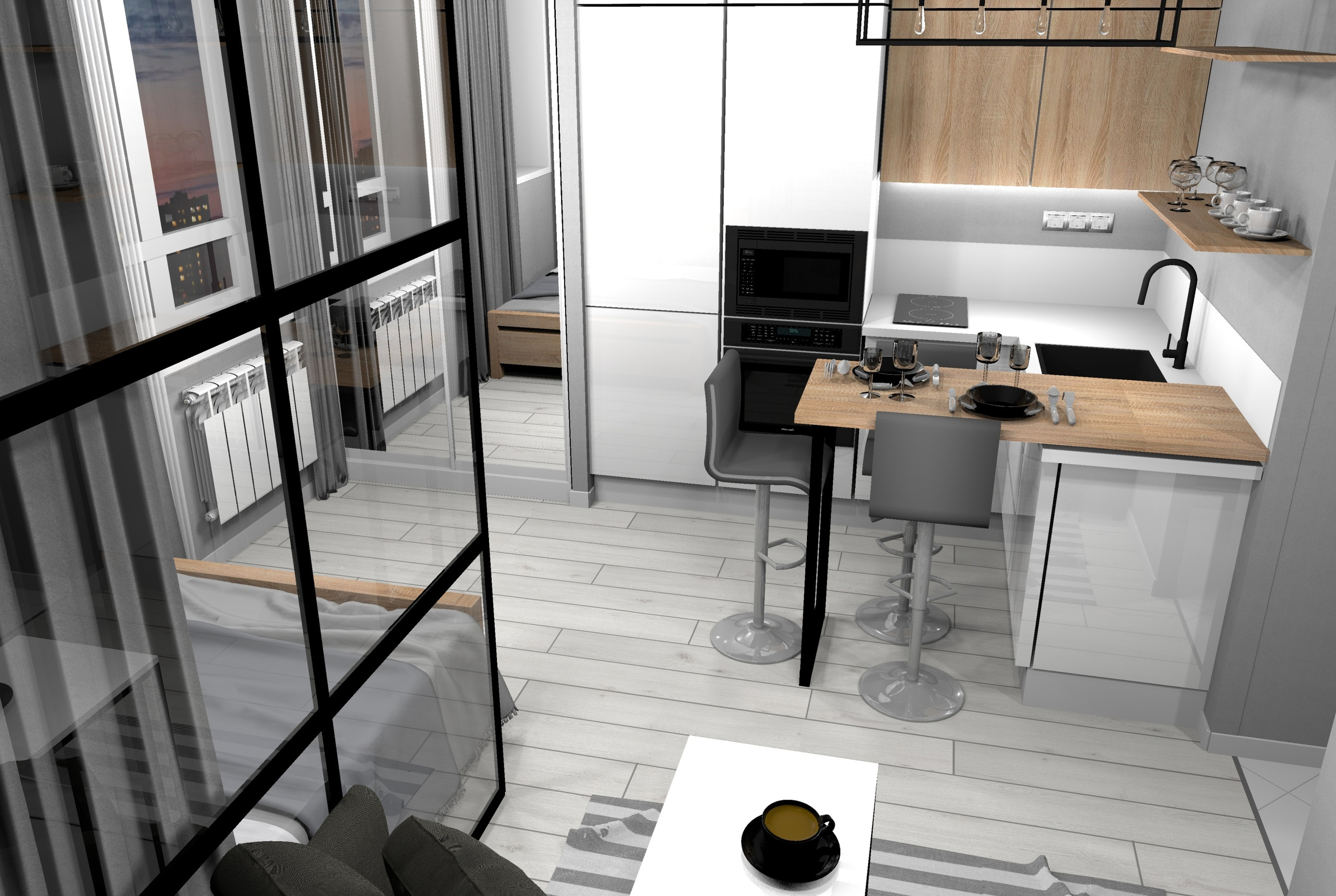 Проект квартиры-студии 26,7 кв.