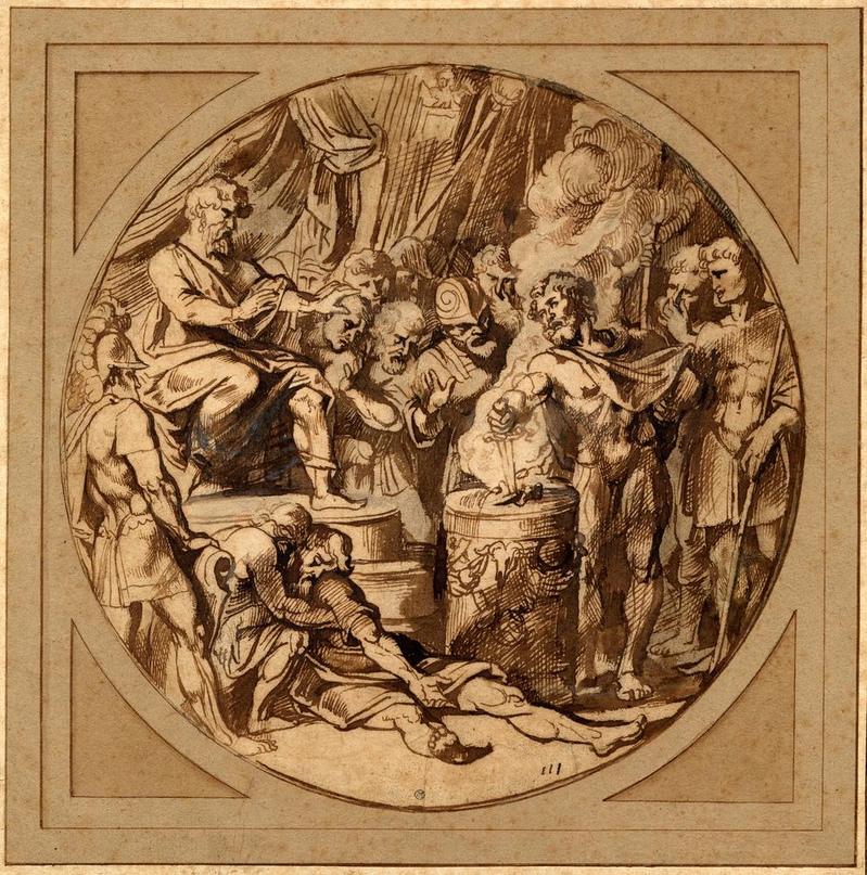 1620 год. Муций Сцевола; воткнув руку и кинжал в огонь, горящий на алтаре в r, вызывающе глядя на Порсена, сидящего на троне