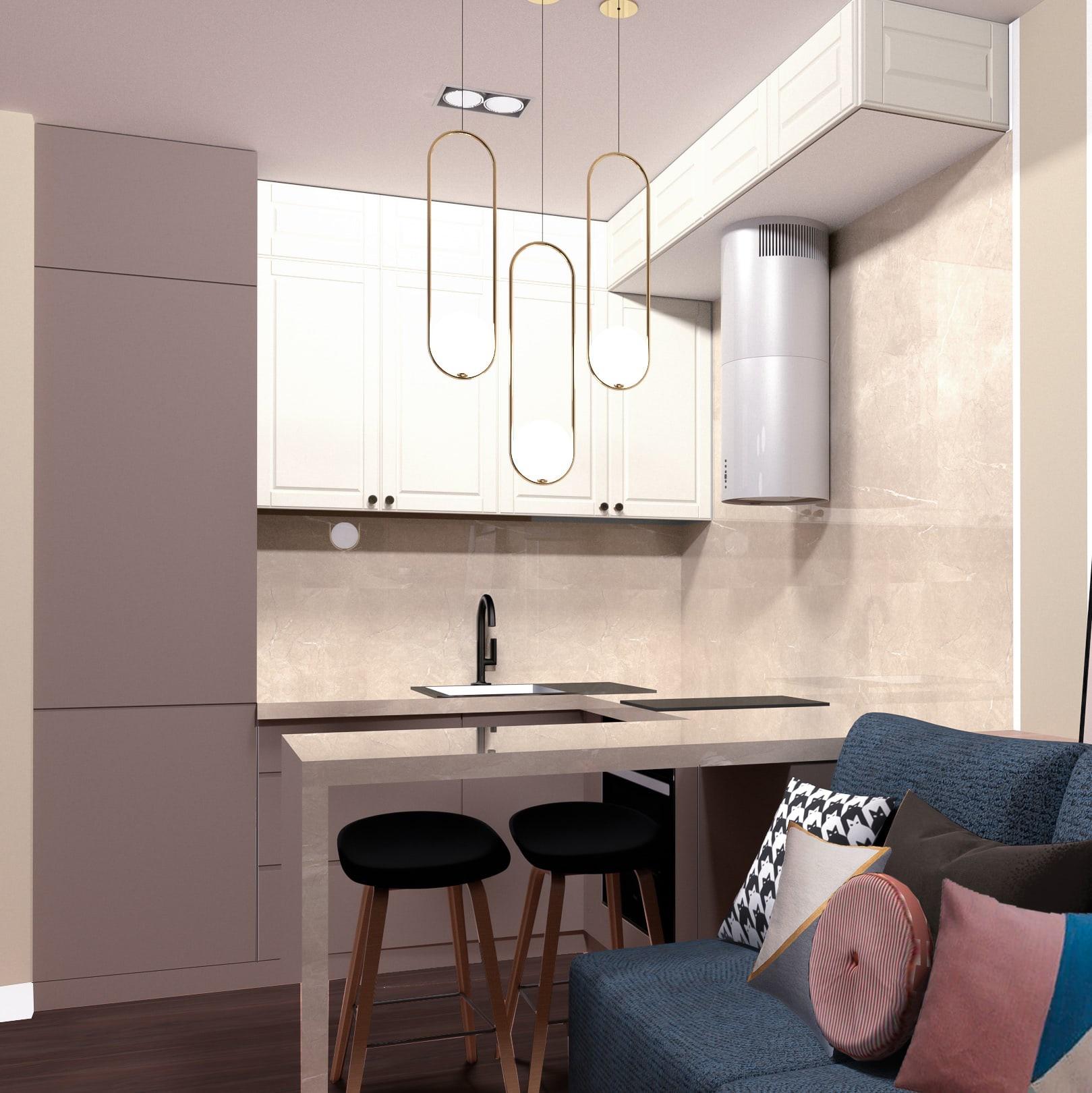 Дизайн проект квартиры-студии для молодой девушки 25,5 кв.