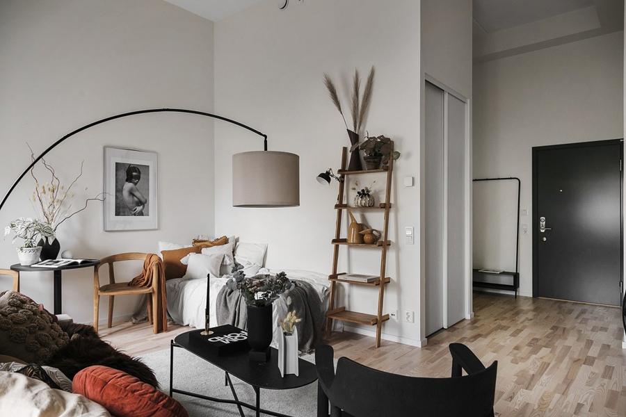 Скандинавский дизайн квартиры-студии 35 кв.