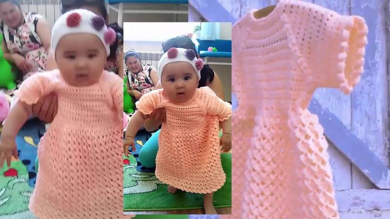 Платье Золотой Персик на 9 12 месяцев Вязание крючком